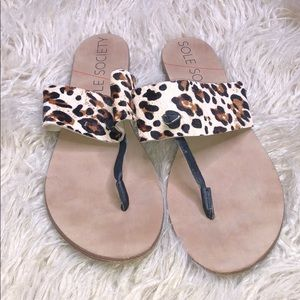 Sole Society real cow hair fur Sandals size 9.5